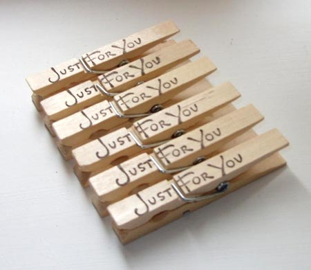 Just For You Stamped Clothespins