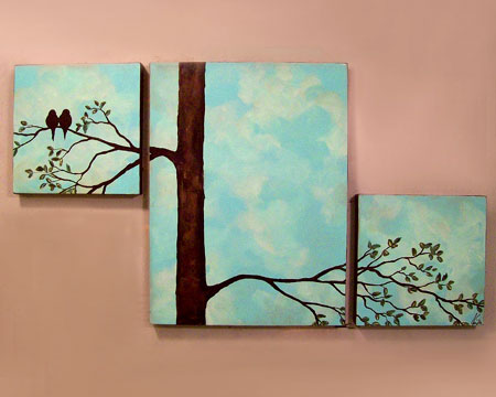 Birds In A Tree Triptych Painting