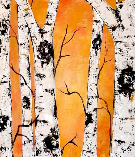Acrylic Birch Trees Painting