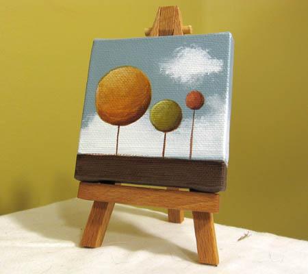 Three Trees Acrylic Painting