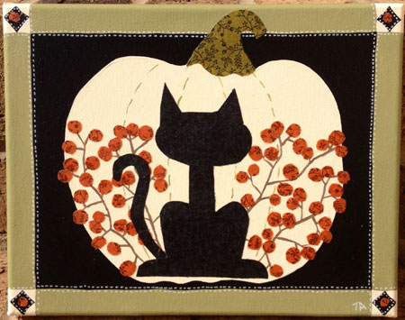 Mixed Media Halloween Painting. Black Cat And White Pumpkin