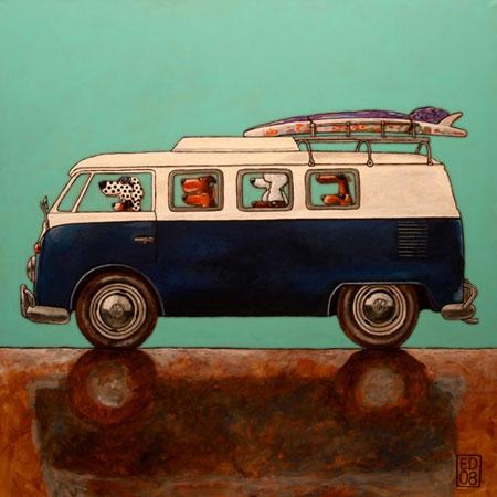 VW Samba Dogs Print