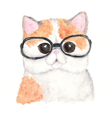 Original Blind Cat Watercolor Painting