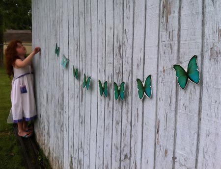 Teal Butterflies Paper Srting Bunting