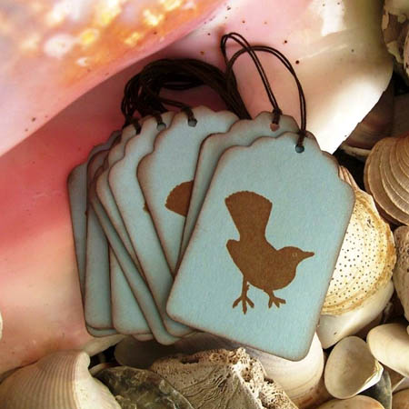 Aqua & Brown Bird Gift-Tags