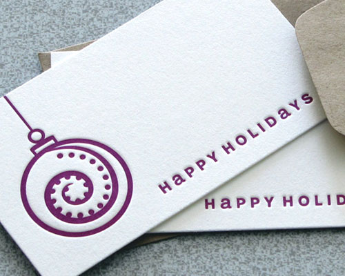 Happy Holidays Blank Letterpress Christmas Card Set