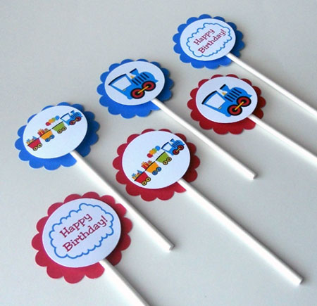Train Theme Birthday Cupcake Toppers