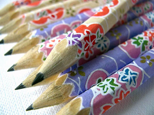 Cherry Blossom Washi Paper Wrapped Pencils