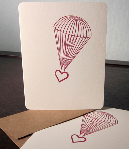 Parachute Heart Gocco Printed Cards