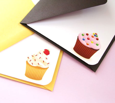 Cupcake Printed Note Cards With Envelopes