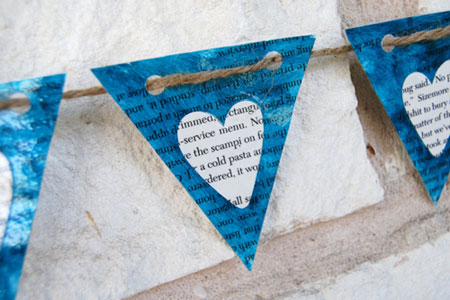 Blue Hearts Paper Banner