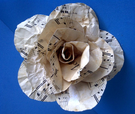 Aged Music Sheet Paper Rose