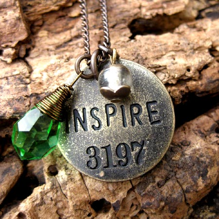 Antiqued Brass Necklace With Round Inspire Pendant