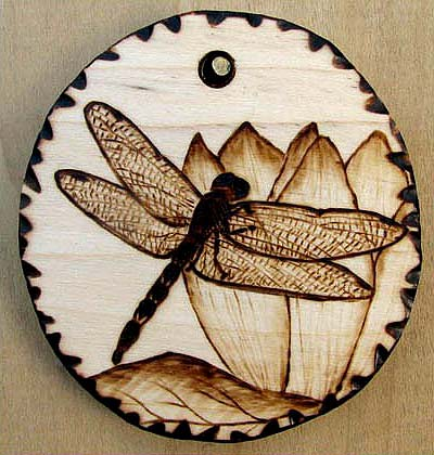 Dragonfly Pyrography Wood Pendant