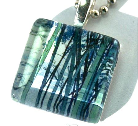 Glass Tile Bamboo Pendant