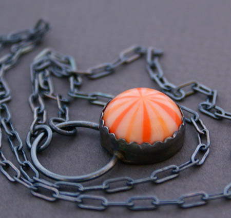 Tangerine Orange Lucite Pendant on a darkend Sterling Silver Chain
