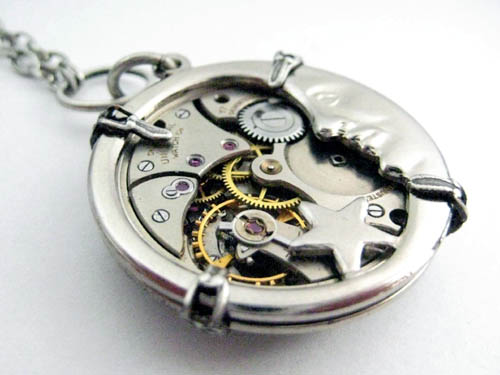 Lunar Steampunk Watch Pendant