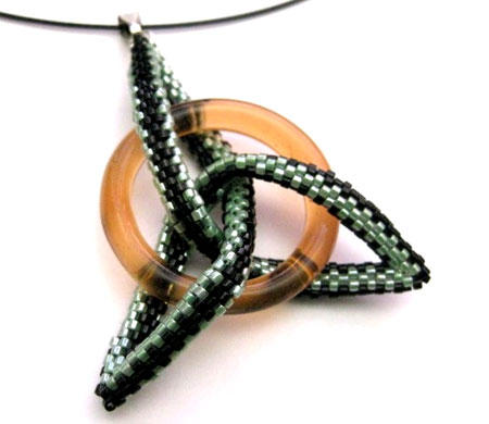 Celtic Knot Peyote Stitched Pendant