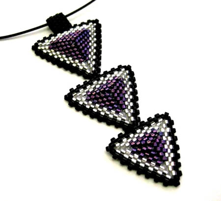 Triple Triangle Peyote-Stitched Beads Pendant