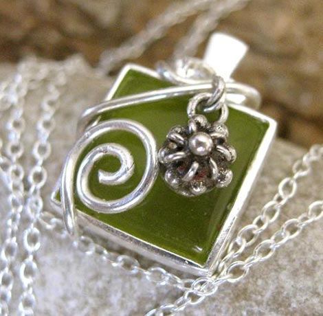 Wire-Wrapped Olive Green Glass Pendant