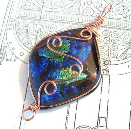 Copper Wrapped Cabochon Pendant