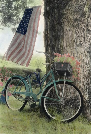 Vintage Bicycle and American Flag Photography Print