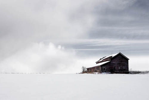 Fine Art Photography. Farm House Winter Scene