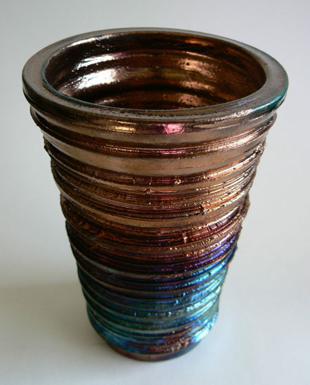 Copper Blue and Purple Raku