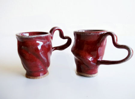 Stoneware Espresso Cups With Heart Handles