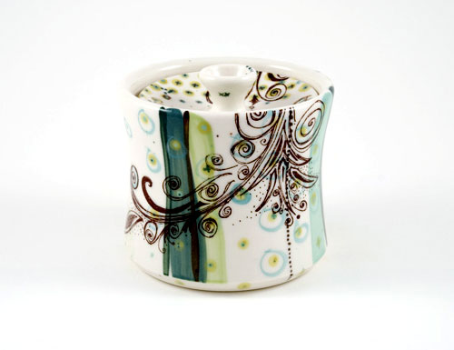 Modern Abstract Painted Sugar Bowl