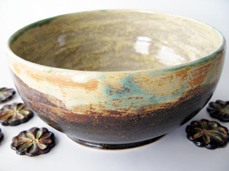 Tenmoku Glazed Stoneware Bowl