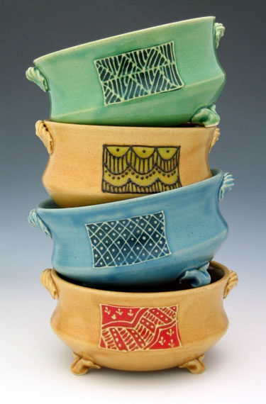 Indian Fabric Design Stoneware Bowls