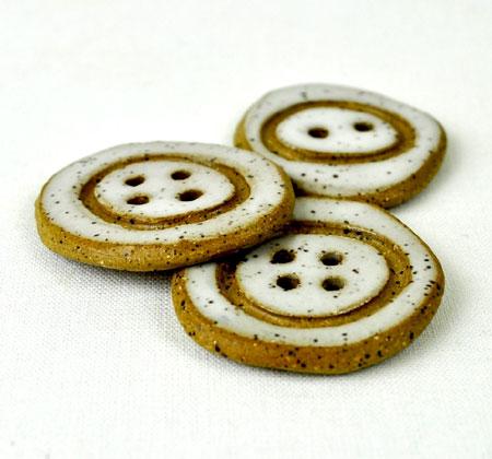 White Stoneware Buttons