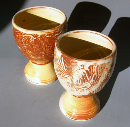 Hand Carved Stoneware Goblets