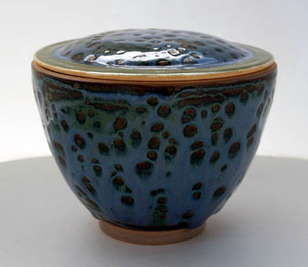 Cobalt Blue & Green Pottery Jar