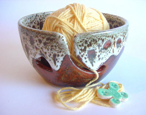 Rusty Red Ceramic Yarn Bowl