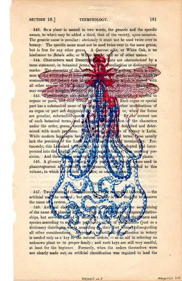 Silkscreen Dragonfly Octopus Print
