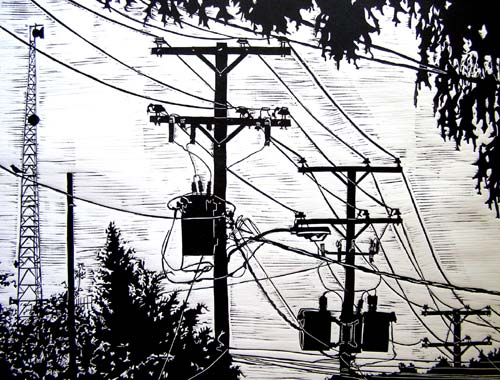 Power Lines Linocut Print
