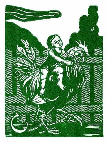 Child Riding Rooster Linocut Print