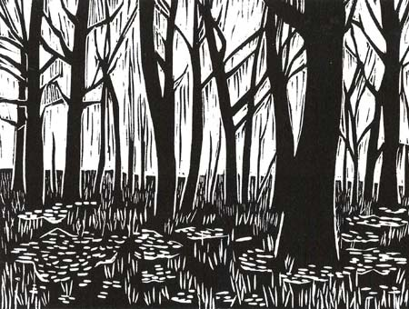 Original Hand-pulled Woodcut Forest Print