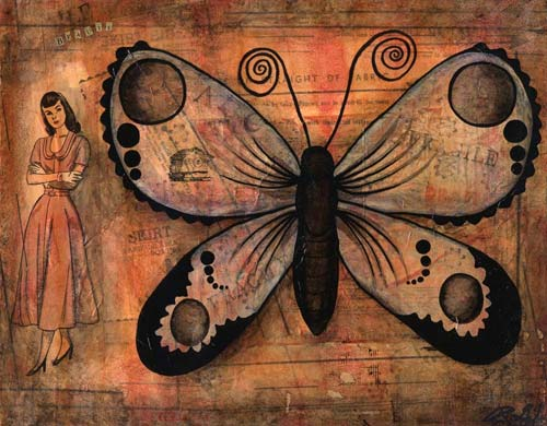 Mixed Media Butterfly Print