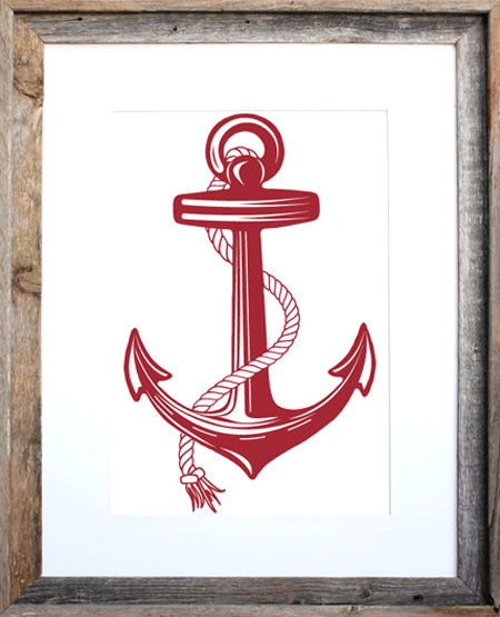 Nautical Anchor Silkscreen Print