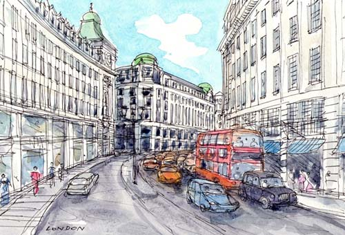 London Regent Street Watercolor Print