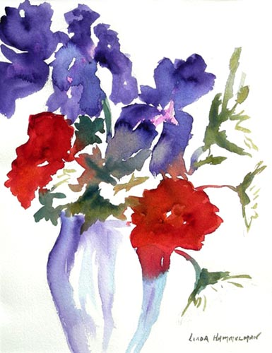 Iris and Poppies Watercolor Print