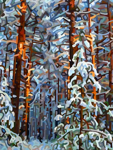 Abstract Winter Forest Painting Print