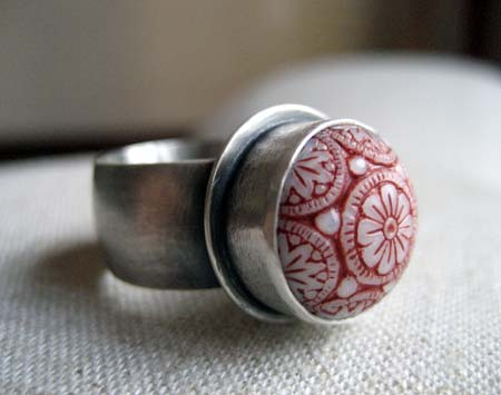 Sterling Silver Ring with Red And White Cabochon