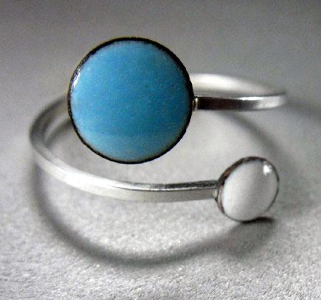 Sky Blue and White Enamel Disc Ring