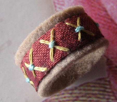 Embroidered Felted Wool Ring