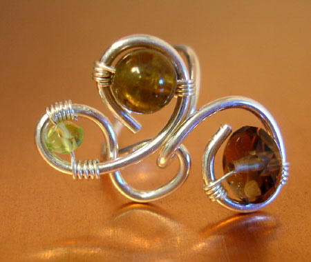 Green Peridot and Garnet Glass Ring