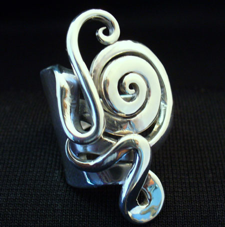 Sterling Silver Spiral Fork Ring